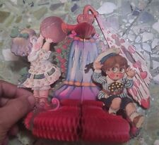 6 Old Vintage Paper Craft Decoration pop up Animated Children Fig's from Germany