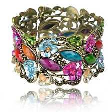 Creux Fleur Résine Large Manchette Rhinestone Gemme Ovale Email Bangle Bracelet