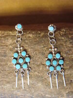 Zuni Indian Jewelry Sterling Silver Turquoise Post Dangle Earrings! Peynetsa