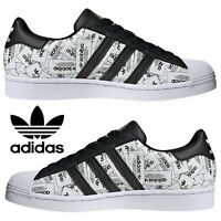 Adidas Originals Superstar Sneakers Men's Casual Shoes Running Newspaper White