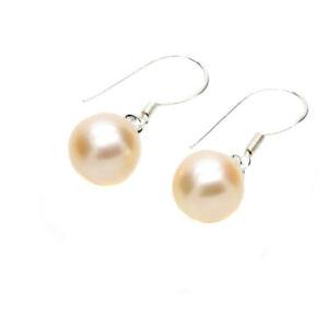 Pearl Drop Earrings Sterling Silver Pink Cultured Freshwater Pearls