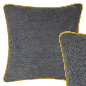 Large Grey and Mustard Yellow Cushion Pillow Throw Case Sofa Cover XL 55cm 22in