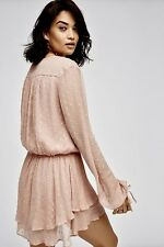 NEW Free People dusty pink Chiffon Dotted Swiss 2 Tier Surplice Mini Dress S