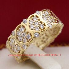 Genuine Solid 9ct Yellow Gold Engagement Wedding Eternity Ring Simulated Diamond