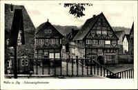 Mölln in Lauenburg s/w AK ~1950/60 Partie am Eulenspiegel-Museum ungelaufen