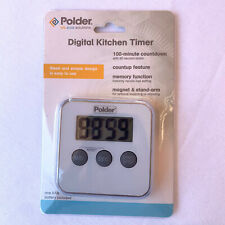 Polder Digital Kitchen Timer with Magnet And Stand White NEW