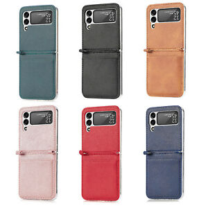Leather Phone Holder Card Slot Phone Shell for Samsung Galaxy Z Flip 3 Phone