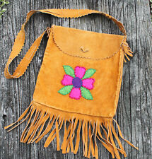 vintage Hippy bag suede fringed beaded bag FREE SHIPPING