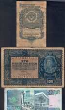 russia 1 rublo 1947  + polonia 100 ZLOTYCHS 1919 + libano 1000 livres LOTTO 139
