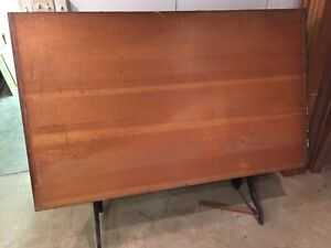 Antique Vintage Hamilton Drafting Table Cast Iron & Wood