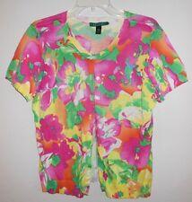 Lauren by Ralph Lauren M L Knit Cardigan Top Shirt Blouse Sweater Pastel Print