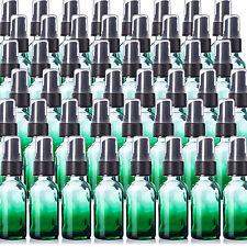 1oz Green Glass Shaded Boston Round Bottles Qty 48 With Fine Mist Sprayers NEW