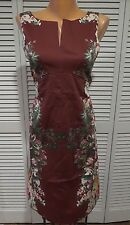 NWOT Of The Garland Variety Sheath Dress In Burgundy Floral Size US S Sleeveless