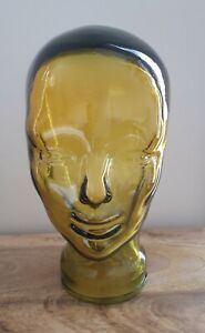 GLASS DISPLAY HEAD ORNAMENT/HOME DECOR YELLOW RECYCLED GLASS BRAND NEW