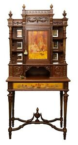 Antique Cabinet, Mirrored French Neoclassical Revival Carved Walnut Hand Painted