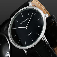 Minimal Super Thin Silver Case Business Black Leather Quartz Wrist Watch Mens