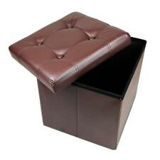 Faux Leather Ottoman Storage Seat Folding Collapsible Square Padded Foot Stool