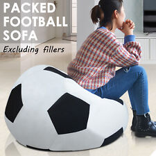 Micro Suede Football Soccer Ball Bean Shape Bag Indoor Outdoor Sofa Seat Chairs