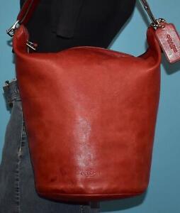 COACH Darker Red Leather BLEECKER Duffle Bucket Shoulder Shopper Purse Bag 32282