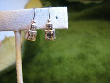 Rhinestones On Close Back Wire Earrings 1/2 Inch Silver Tone 2 Square