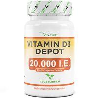 Vitamin D3 20.000 I.E. - 240 Tabletten - Hochdosiert mit 20000 IU - Premium
