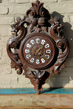 Gothic Dragon Black forest wood carved wall clock devil head rare