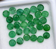 3.32 Cts Natural Emerald Round Cut 3 mm Lot 30 Pcs Untreated Loose Gemstones
