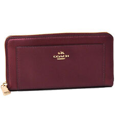 NWT Coach Accordion Zip Wallet in Bramble Rose in Leather 53571 Metallic Cherry