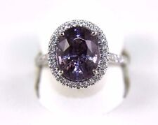 Oval Purple Spinel & Diamond Halo Solitaire Ring 14k White Gold 5.26Ct