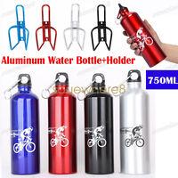 750ML Aluminium Sports Mountain Bike Cycle Water Drink Bottle+Holder Cage Set