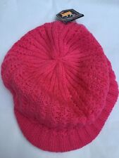 Hot Pink Baggy Beanie Oversize Warm Ladies Knit Crochet Visor Hat With Lining