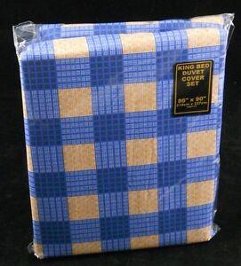 Blue Orange King Size Bed Duvet Quilt Cover Set Polycotton Check Checked