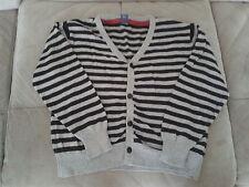 Boys 4 Years - Light Grey & Black Striped Cardigan - TU