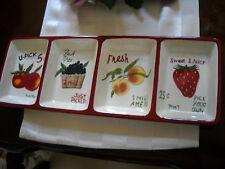 2 Sakura David Carter Brown Farm stand Fruit 4 Section Serving Tray Platter