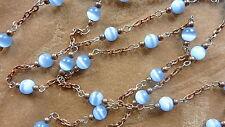 8' (feet) vintage, glass bead link, chain, moonglow,fiber optic, blue