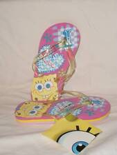 NEW Girls SpongeBob Flip Flops Sandals 11 - 12 Kids Pink Shoes Pool Sponge Bob