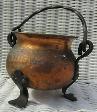 Antique/Vintage Hammered Copper Bowl/Pot Cast Iron Feet Twisted Handle Cauldron