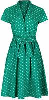 1940's Retro Vintage Style Green Polka Dot Belted A-Line Shirt Dress NEW 8 - 28