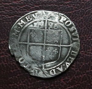 1596 Elizabeth 1st Hammered Silver Sixpence mm.Key - Rare Date - Spink 2578B
