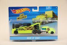 2015 Hot Wheels ROCK N' RACE Semi-Truck Car Hauler Big Rig NEW IN BOX