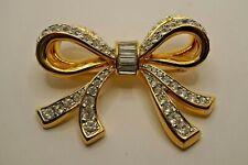 Stunning Swan Signed Swarovski Crystal Large Bow Brooch.