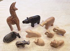 Lot of 10 Soapstone Animals from Kenya Various Sizes Textures Colors Some Tags