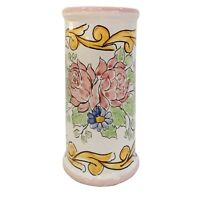 Dispenser Porta Bicchieri da Caffè in Ceramica di Vietri Artiginale Barocco Rosa