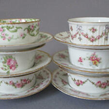6 Asst HAVILAND LIMOGES Porcelain RAMEKINS Saucers Pink ROSE Swags BOWS Flowers