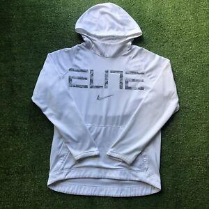 Nike Therma Elite White Hoodie Sweatshirt Mens Large Dri-Fit Gray Snakeskin Camo