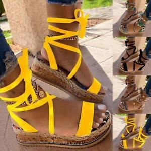 Womens Flat Wedge Summer Sandals Ankle Lace Up Platform Espadrilles Shoes