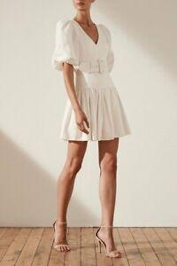 Shona Joy Gaia Puff Sleeve Drop Waist Linen Mini w/ Belt in Ivory