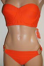 NWT Jessica Simpson Swimsuit Bikini 2pc Set Orange Removable Strap Sz M S