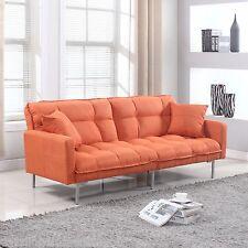 Modern Plush Tufted Linen Fabric Splitback Living Room Sleeper Futon Orange