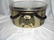 Vintage Tri Chem Handled Oval Sewing Cookie Biscuit Trinket Eagle Tin NICE